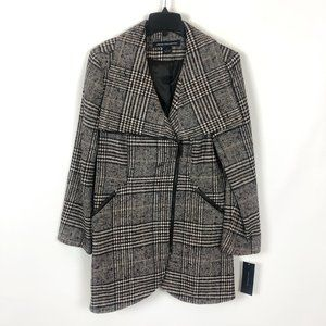 NWT French Connection Plaid Tulip Hem Coat